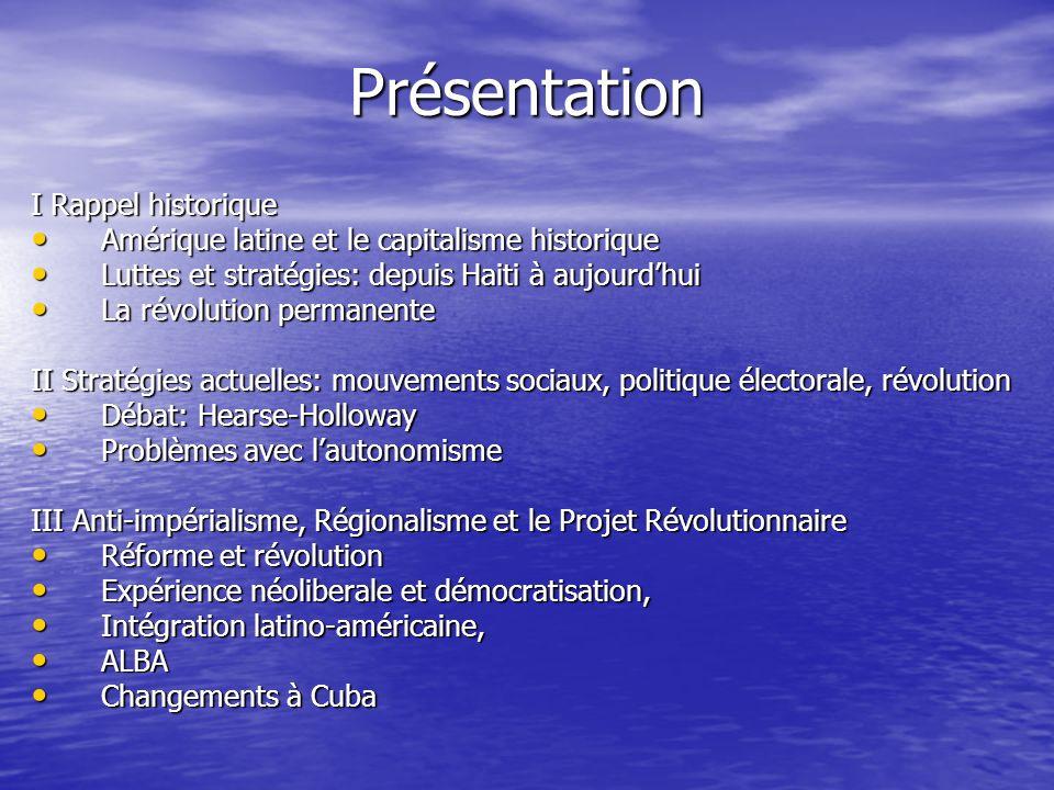 Rispostes anti-impérialistes/Contre- hégémoniques Intégration capitaliste (Mercosur, Banco del Sur, UNASUR) Intégration capitaliste (Mercosur, Banco del Sur, UNASUR) Intégration post-néoliberale (ALBA) Intégration post-néoliberale (ALBA) Décomposition de lOEA Décomposition de lOEA CELAC CELAC Telesur Telesur Capitalisme dÉtat, Néo-structuralisme, Contrôle du Marché Capitalisme dÉtat, Néo-structuralisme, Contrôle du Marché