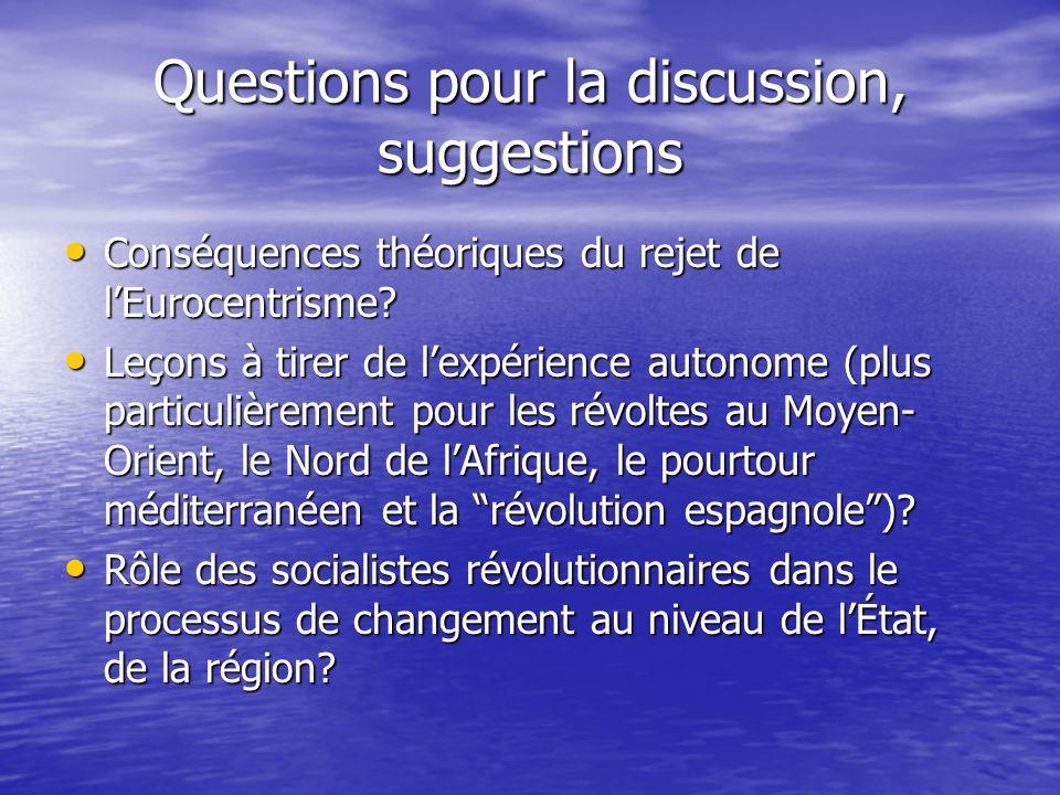 Questions pour la discussion, suggestions Conséquences théoriques du rejet de lEurocentrisme? Conséquences théoriques du rejet de lEurocentrisme? Leço