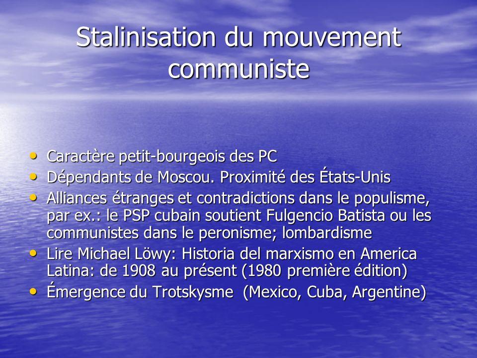 Stalinisation du mouvement communiste Caractère petit-bourgeois des PC Caractère petit-bourgeois des PC Dépendants de Moscou. Proximité des États-Unis