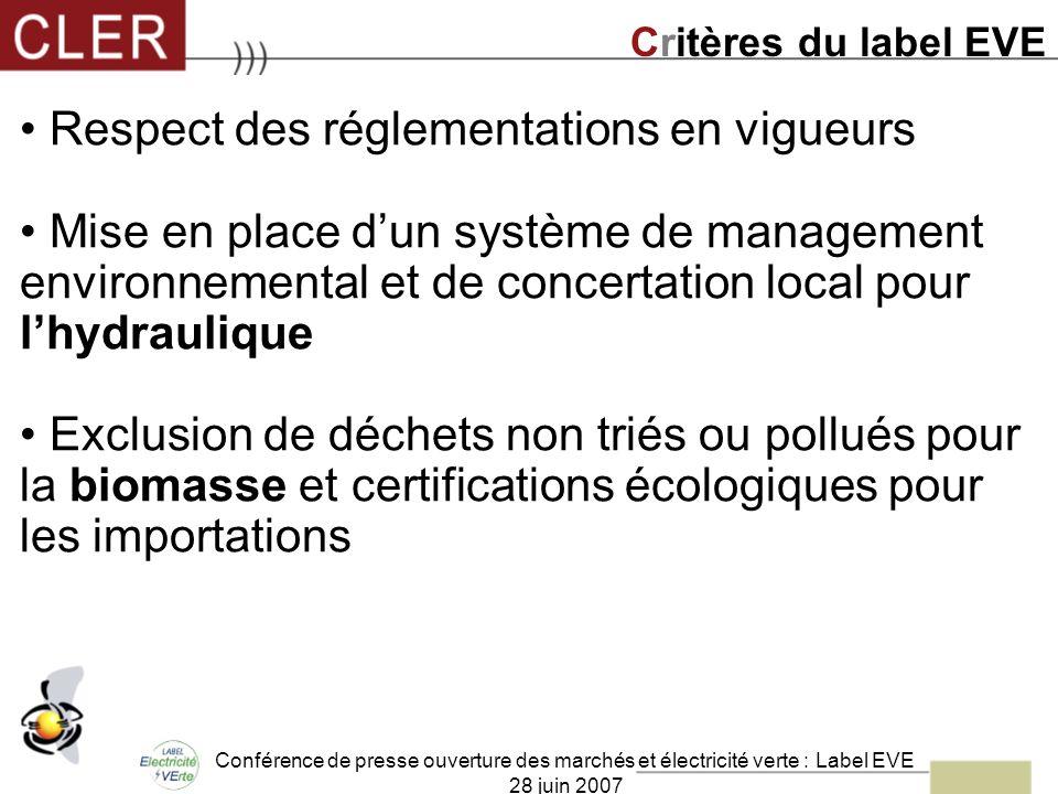 Conférence de presse ouverture des marchés et électricité verte : Label EVE 28 juin 2007 Respect des réglementations en vigueurs Mise en place dun sys