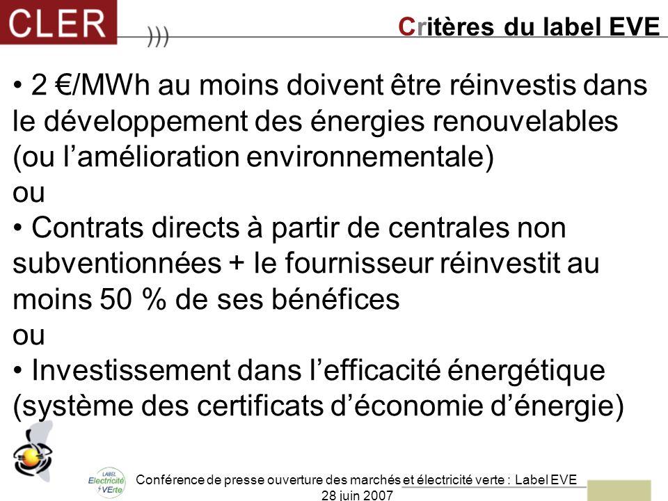 Conférence de presse ouverture des marchés et électricité verte : Label EVE 28 juin 2007 2 /MWh au moins doivent être réinvestis dans le développement