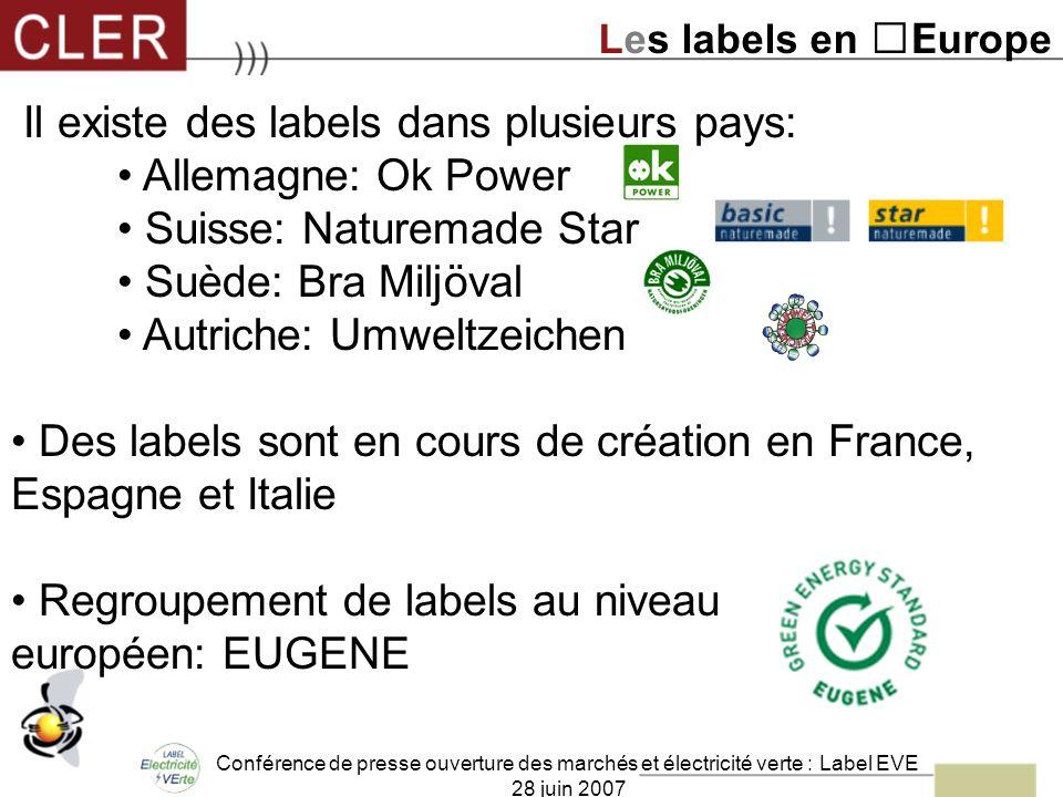 Conférence de presse ouverture des marchés et électricité verte : Label EVE 28 juin 2007 Il existe des labels dans plusieurs pays: Allemagne: Ok Power