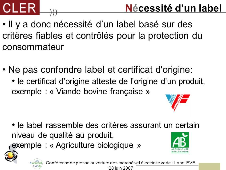 Conférence de presse ouverture des marchés et électricité verte : Label EVE 28 juin 2007 Il y a donc nécessité dun label basé sur des critères fiables
