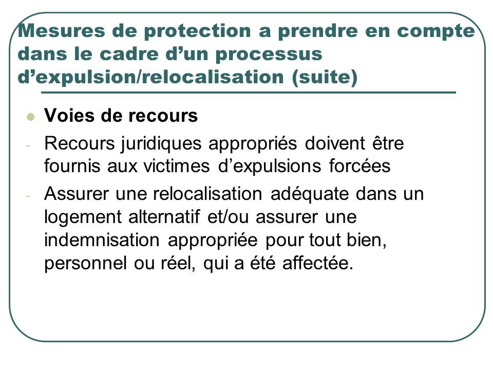 Mesures de protection a prendre en compte dans le cadre dun processus dexpulsion/relocalisation (suite) Voies de recours - Recours juridiques appropri