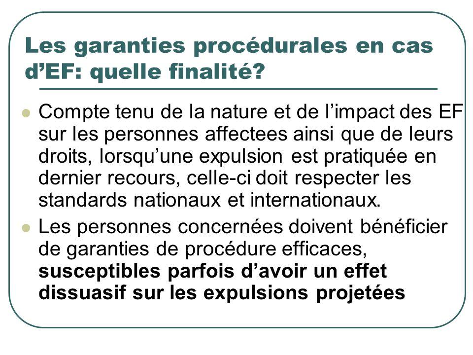 Les garanties procédurales en cas dEF: quelle finalité? Compte tenu de la nature et de limpact des EF sur les personnes affectees ainsi que de leurs d