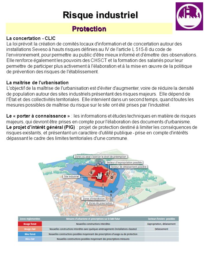 Protection La concertation - CLIC La loi prévoit la création de comités locaux d'information et de concertation autour des installations Seveso à haut