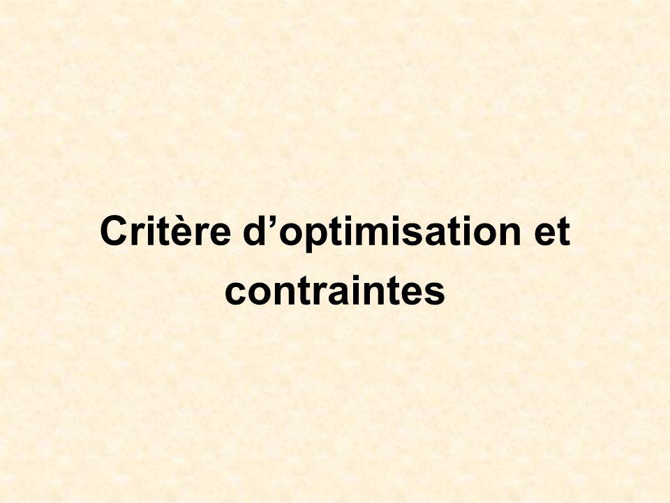 Critère doptimisation et contraintes