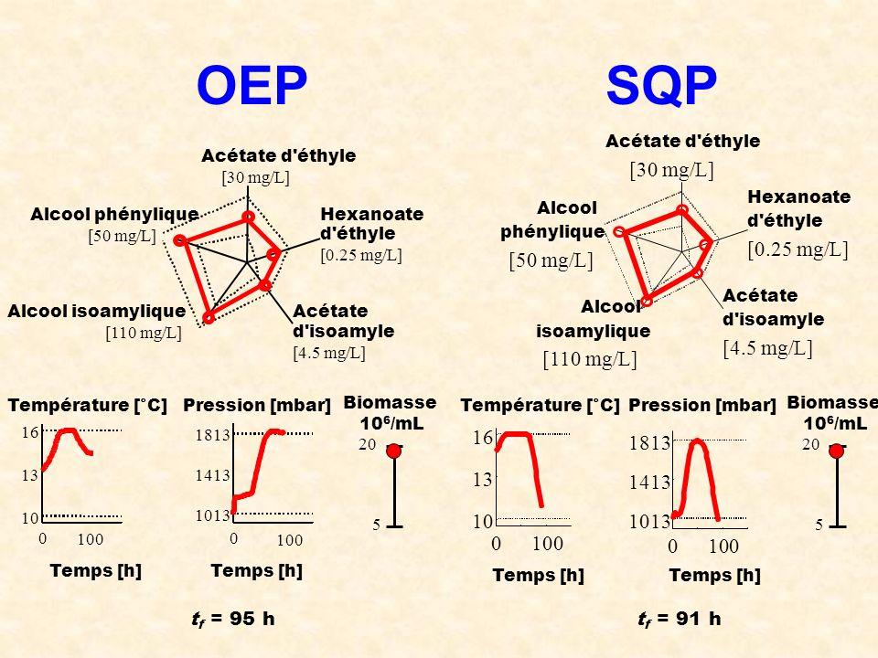 OEPSQP Acétate d'éthyle [30 mg/L] Hexanoate d'éthyle [0.25 mg/L] Acétate d'isoamyle [4.5 mg/L] Alcool isoamylique [110 mg/L] Alcool phénylique [50 mg/