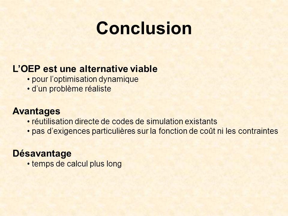 Conclusion LOEP est une alternative viable pour loptimisation dynamique dun problème réaliste Avantages réutilisation directe de codes de simulation e