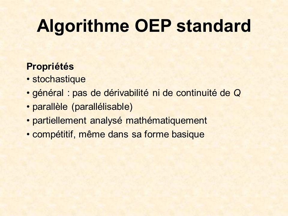 Algorithme OEP standard Propriétés stochastique général : pas de dérivabilité ni de continuité de Q parallèle (parallélisable) partiellement analysé m