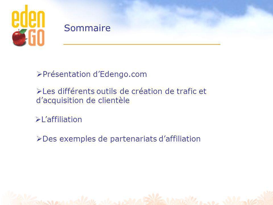 Edengo.com est un portail e-commerce Edengo.com apporte aux internautes: - Des partenaires et des offres sélectionnés - Des offres exclusives - Des remises sur tous les achats (sous forme de points cadeaux) En chiffres: - 500 000 membres - 500 000 visiteurs uniques / mois