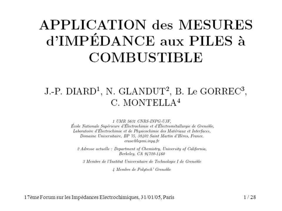 / 2817ème Forum sur les Impédances Electrochimiques, 31/01/05, Paris 1