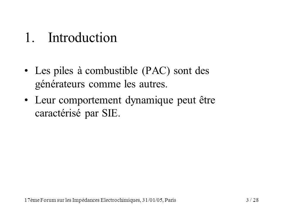 / 2817ème Forum sur les Impédances Electrochimiques, 31/01/05, Paris 3 1.Introduction Les piles à combustible (PAC) sont des générateurs comme les aut