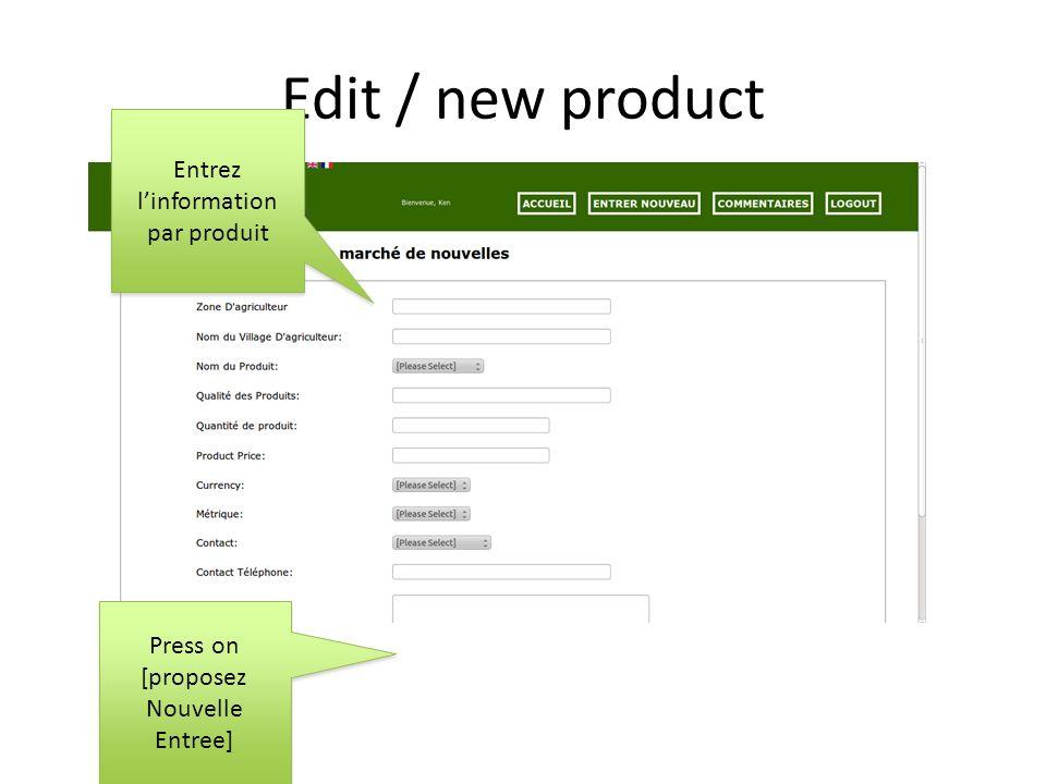 3a.Créér un communiqué 2. Clickez sur le bouton créér communiqué Selection de produits 3.