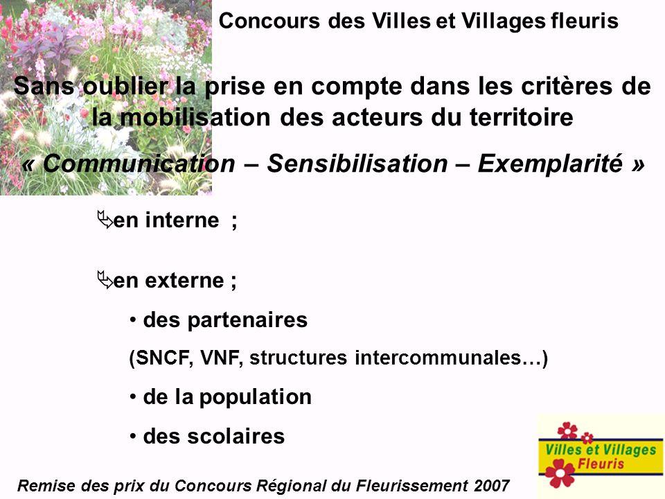 Concours des Villes et Villages fleuris Remise des prix du Concours Régional du Fleurissement 2007 Sans oublier la prise en compte dans les critères d