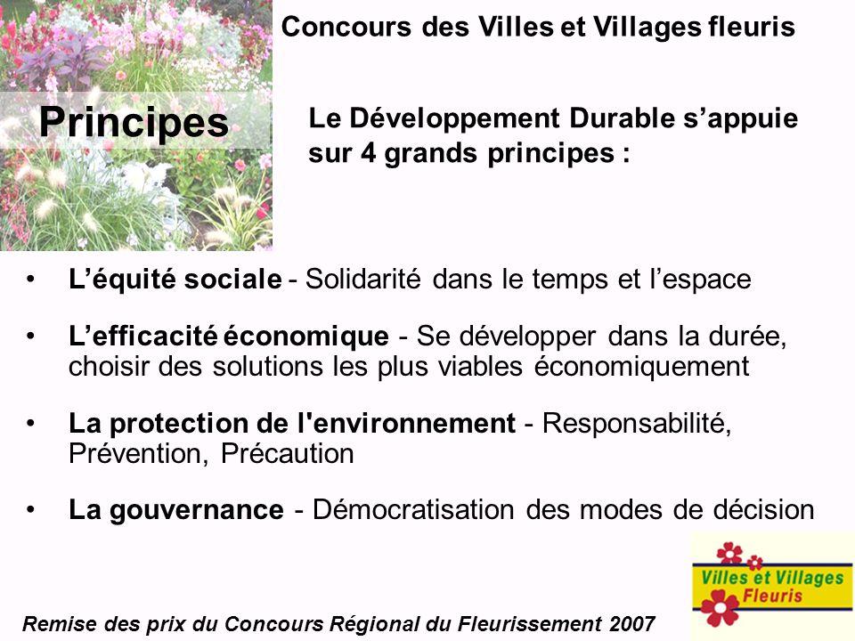 Concours des Villes et Villages fleuris Remise des prix du Concours Régional du Fleurissement 2007 Principes Léquité sociale - Solidarité dans le temp