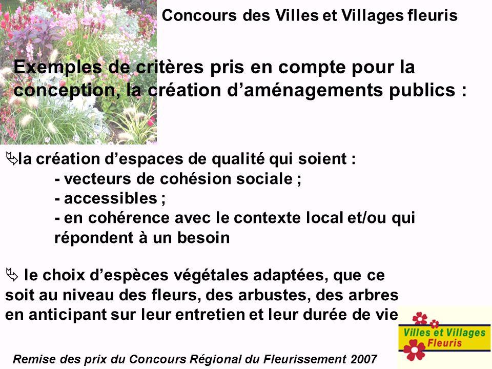 Concours des Villes et Villages fleuris Remise des prix du Concours Régional du Fleurissement 2007 Exemples de critères pris en compte pour la concept