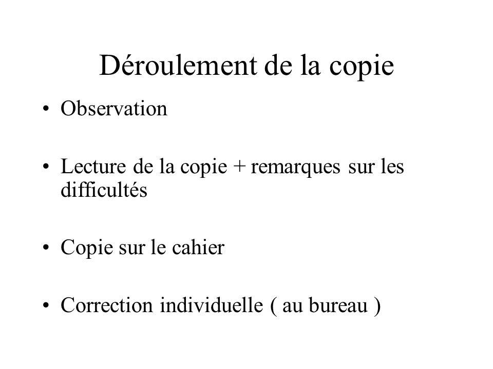 Déroulement de la copie Observation Lecture de la copie + remarques sur les difficultés Copie sur le cahier Correction individuelle ( au bureau )