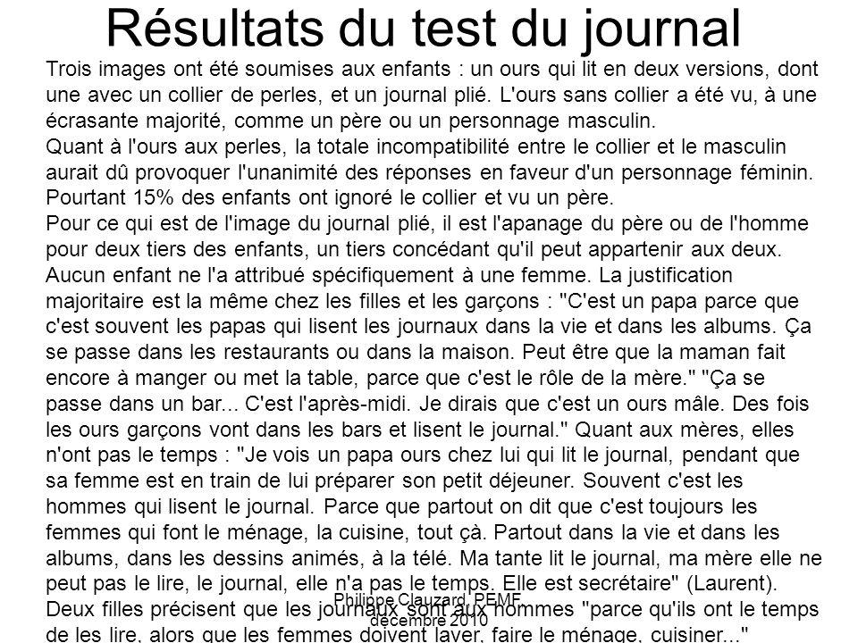 Résultats du test du journal Philippe Clauzard, PEMF, décembre 2010 Trois images ont été soumises aux enfants : un ours qui lit en deux versions, dont