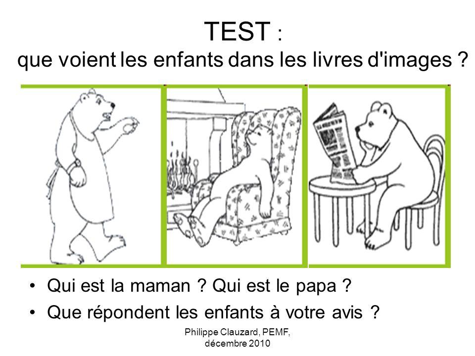 TEST : que voient les enfants dans les livres d'images ? Qui est la maman ? Qui est le papa ? Que répondent les enfants à votre avis ?