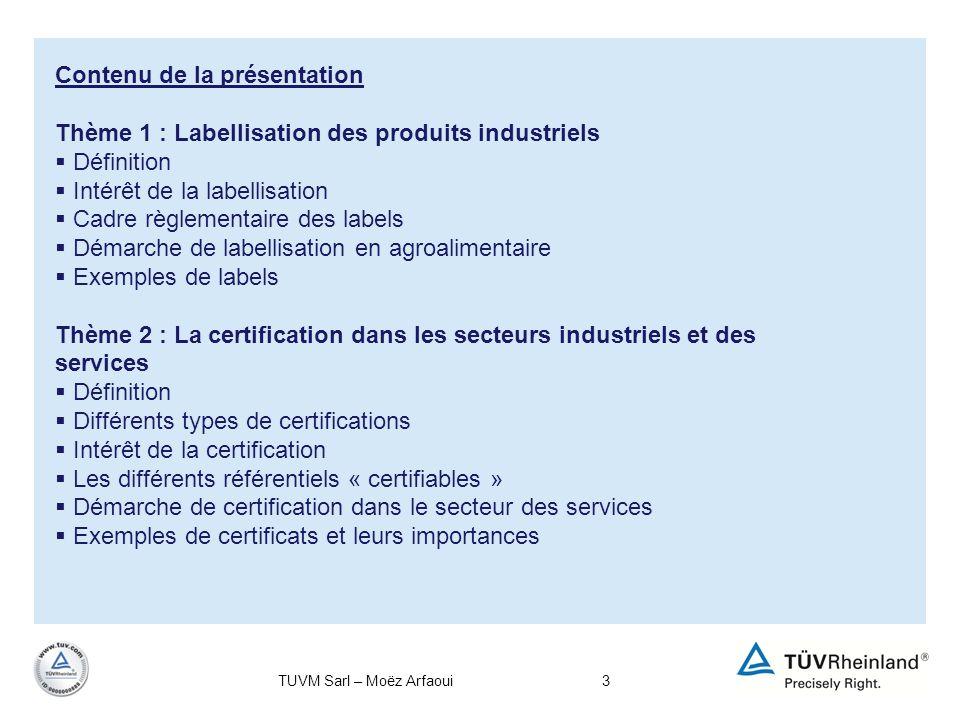 3 Contenu de la présentation Thème 1 : Labellisation des produits industriels Définition Intérêt de la labellisation Cadre règlementaire des labels Dé