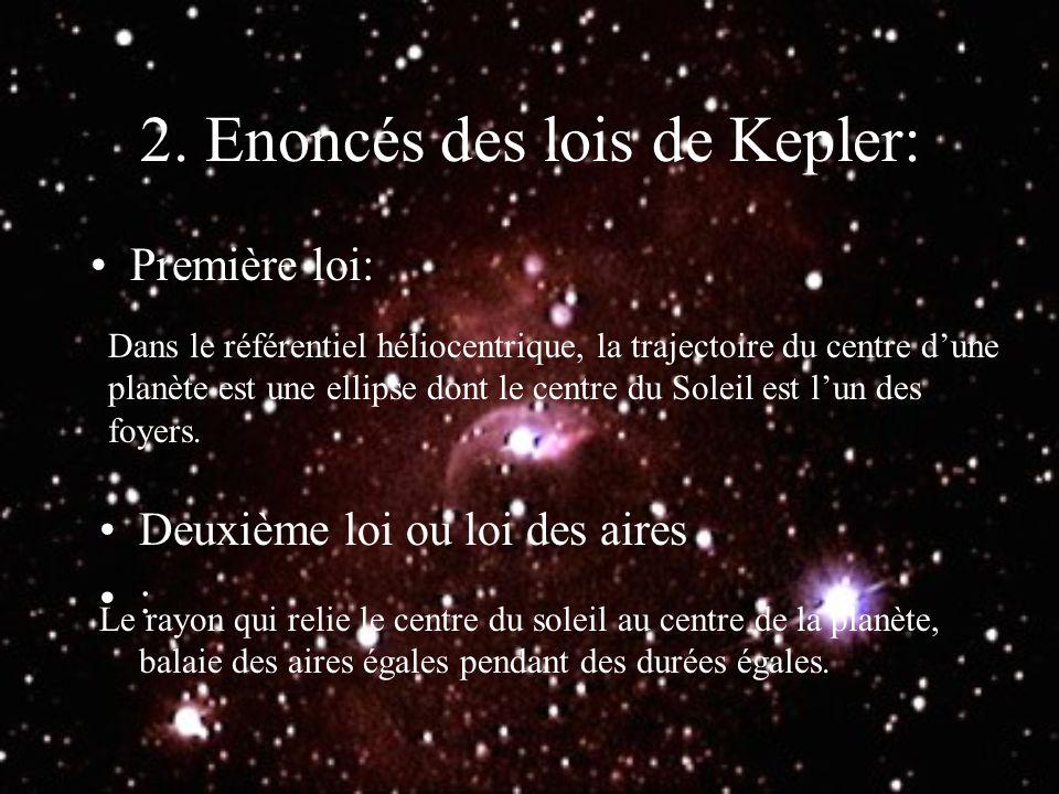 2. Enoncés des lois de Kepler: Première loi: Dans le référentiel héliocentrique, la trajectoire du centre dune planète est une ellipse dont le centre