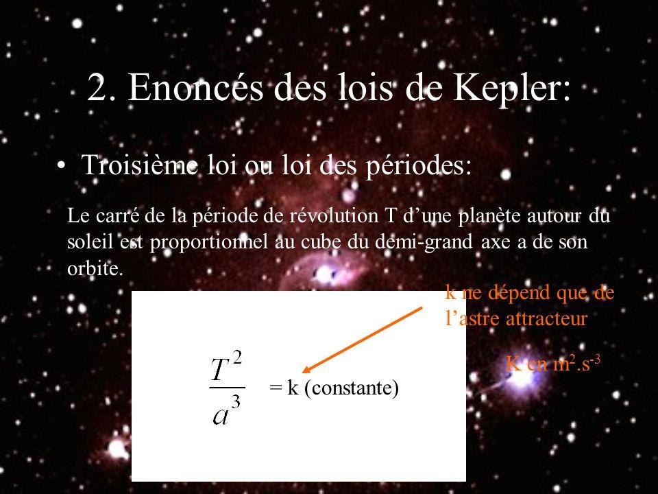2. Enoncés des lois de Kepler: Troisième loi ou loi des périodes: Le carré de la période de révolution T dune planète autour du soleil est proportionn