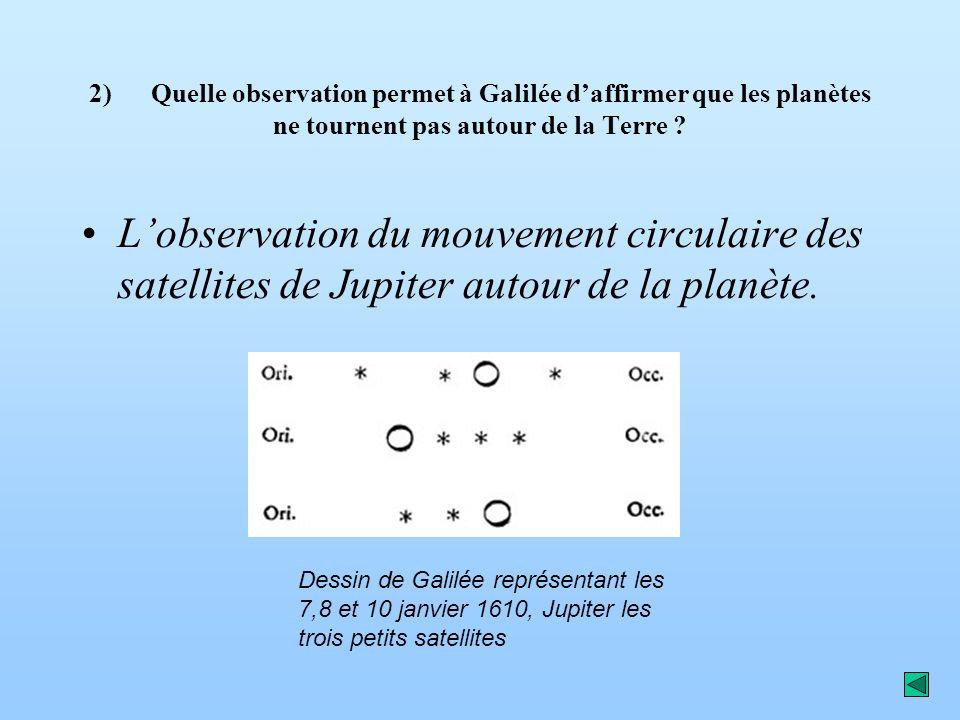 2) Quelle observation permet à Galilée daffirmer que les planètes ne tournent pas autour de la Terre ? Lobservation du mouvement circulaire des satell