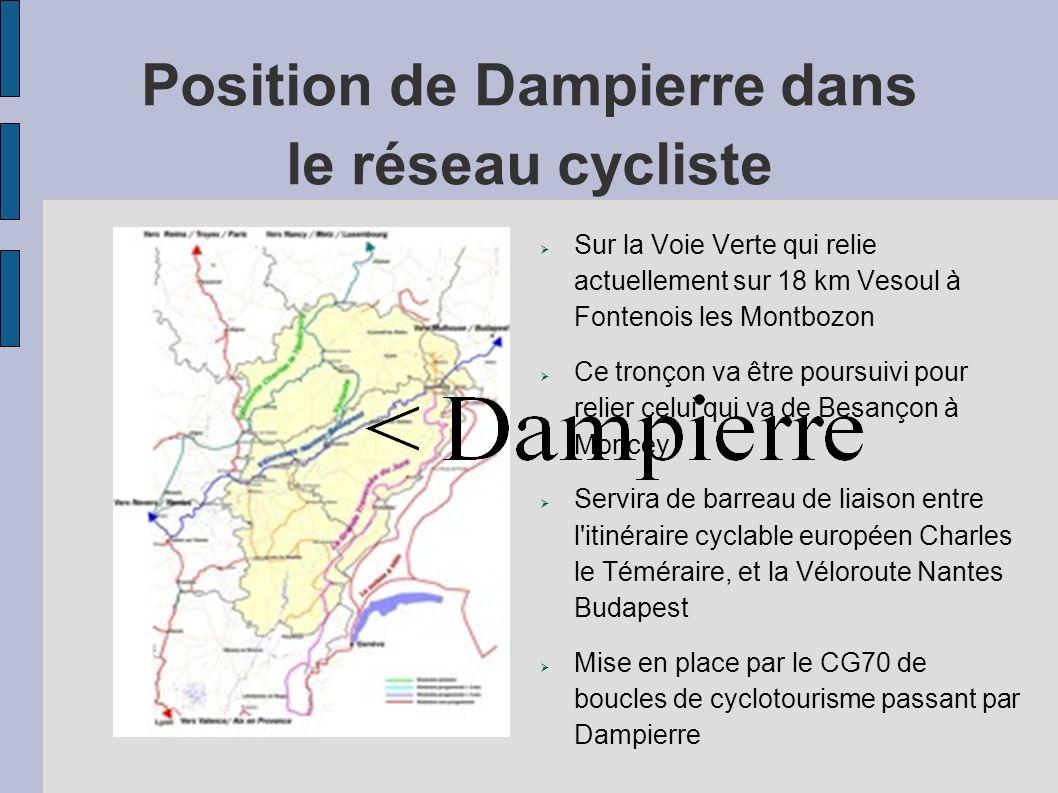 Position de Dampierre dans le réseau cycliste Sur la Voie Verte qui relie actuellement sur 18 km Vesoul à Fontenois les Montbozon Ce tronçon va être p
