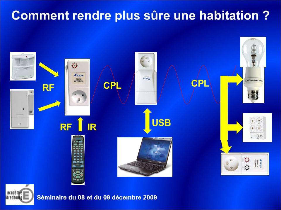 Les logiciels disponibles Séminaire du 08 et du 09 décembre 2009 Domotx Home control Logiciel gratuit permettant de gérer les différentes réalisations étudiées.