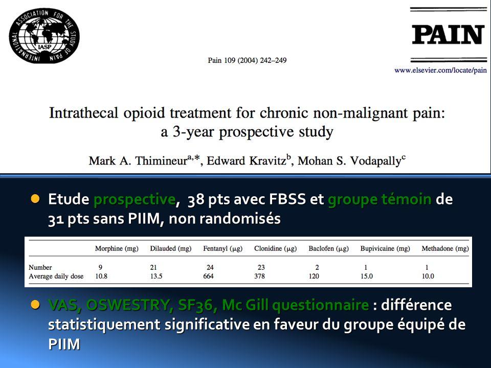 Etude prospective, 38 pts avec FBSS et groupe témoin de 31 pts sans PIIM, non randomisés Etude prospective, 38 pts avec FBSS et groupe témoin de 31 pt
