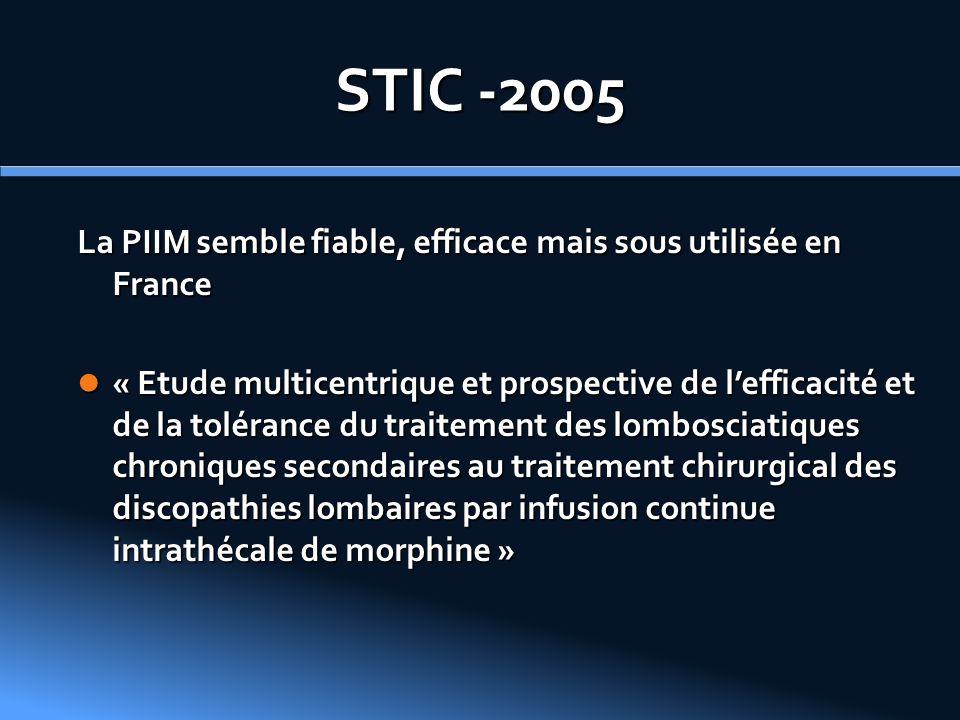 STIC -2005 La PIIM semble fiable, efficace mais sous utilisée en France « Etude multicentrique et prospective de lefficacité et de la tolérance du tra
