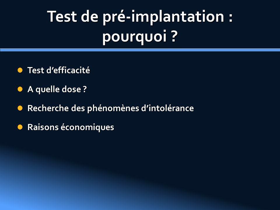 Test de pré-implantation : pourquoi ? Test defficacité Test defficacité A quelle dose ? A quelle dose ? Recherche des phénomènes dintolérance Recherch