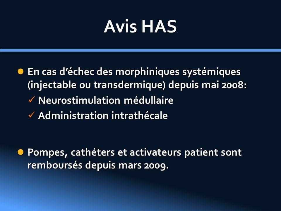 Avis HAS En cas déchec des morphiniques systémiques (injectable ou transdermique) depuis mai 2008: En cas déchec des morphiniques systémiques (injecta