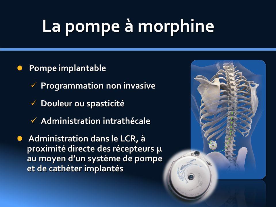 La pompe à morphine Pompe implantable Pompe implantable Programmation non invasive Programmation non invasive Douleur ou spasticité Douleur ou spastic