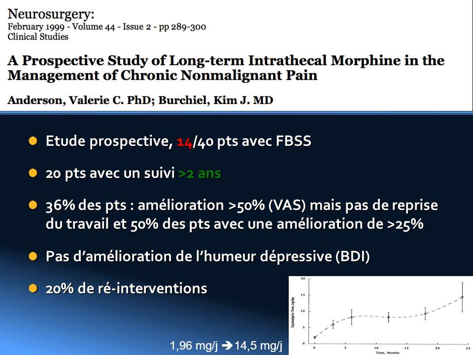 Etude prospective, 14/40 pts avec FBSS Etude prospective, 14/40 pts avec FBSS 20 pts avec un suivi >2 ans 20 pts avec un suivi >2 ans 36% des pts : am