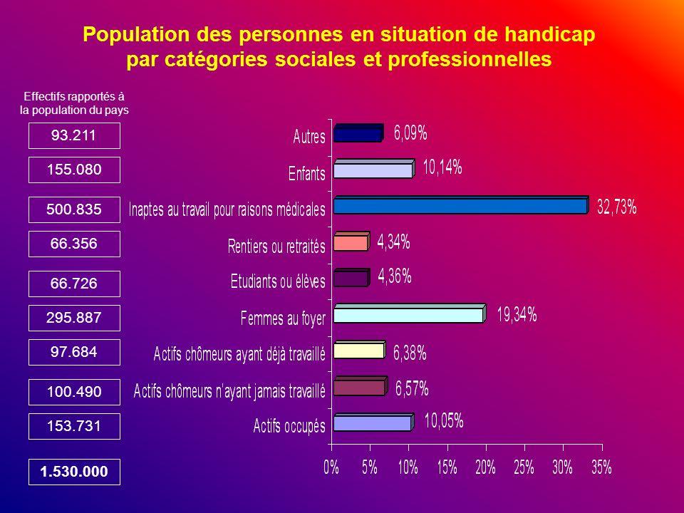 Population des personnes en situation de handicap par catégories sociales et professionnelles 93.211 155.080 500.835 66.356 66.726 295.887 97.684 100.