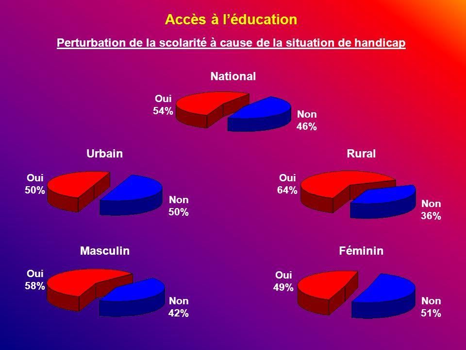 Accès à léducation Perturbation de la scolarité à cause de la situation de handicap Non 46% National Non 36% Non 42% Oui 64% Oui 50% Non 51% Non 50% O