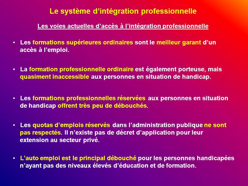 Le système dintégration professionnelle Les voies actuelles daccès à lintégration professionnelle Les formations supérieures ordinaires sont le meille