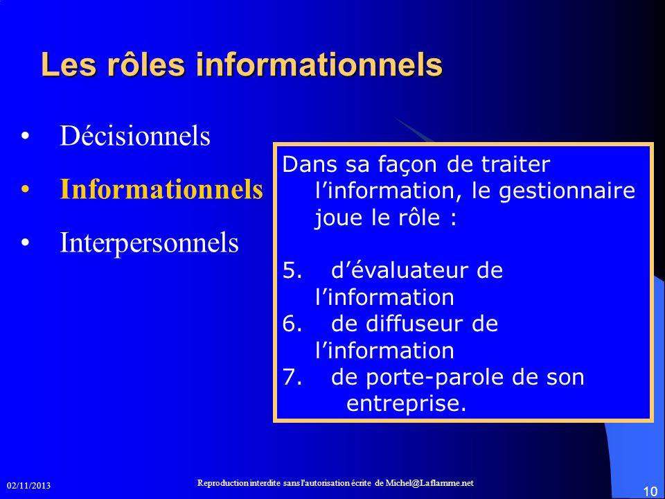 02/11/2013 Reproduction interdite sans l'autorisation écrite de Michel@Laflamme.net 10 Les rôles informationnels Les rôles informationnels Décisionnel