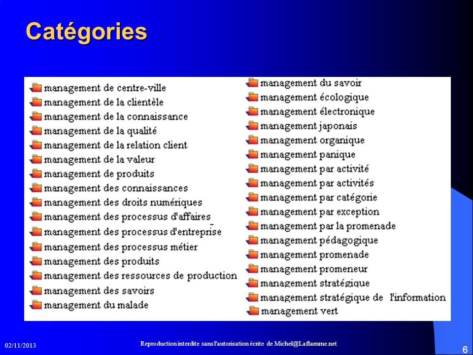 02/11/2013 Reproduction interdite sans l'autorisation écrite de Michel@Laflamme.net 6 Catégories