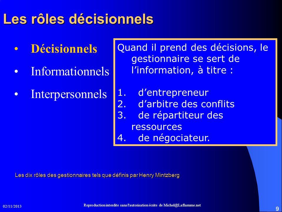 02/11/2013 Reproduction interdite sans l'autorisation écrite de Michel@Laflamme.net 9 Les rôles décisionnels Les rôles décisionnels Décisionnels Infor