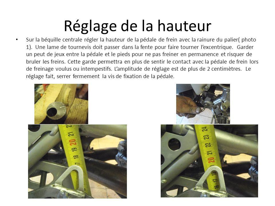 Réglage de la hauteur Sur la béquille centrale régler la hauteur de la pédale de frein avec la rainure du palier( photo 1). Une lame de tournevis doit