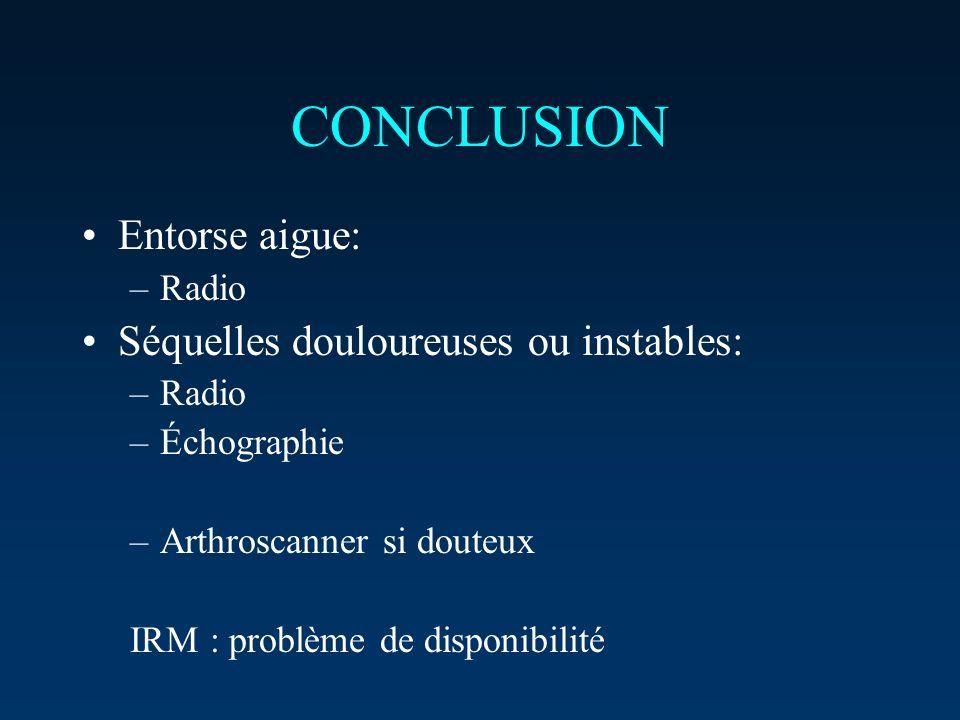 CONCLUSION Entorse aigue: –Radio Séquelles douloureuses ou instables: –Radio –Échographie –Arthroscanner si douteux IRM : problème de disponibilité