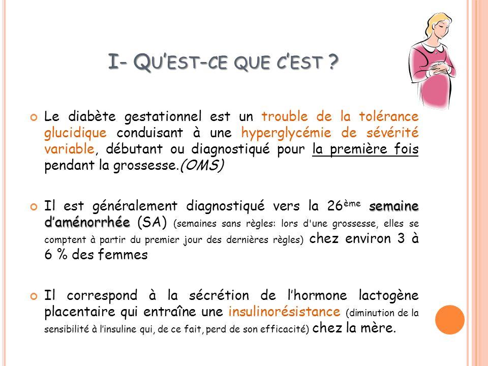 I- Q U EST - CE QUE C EST ? Le diabète gestationnel est un trouble de la tolérance glucidique conduisant à une hyperglycémie de sévérité variable, déb