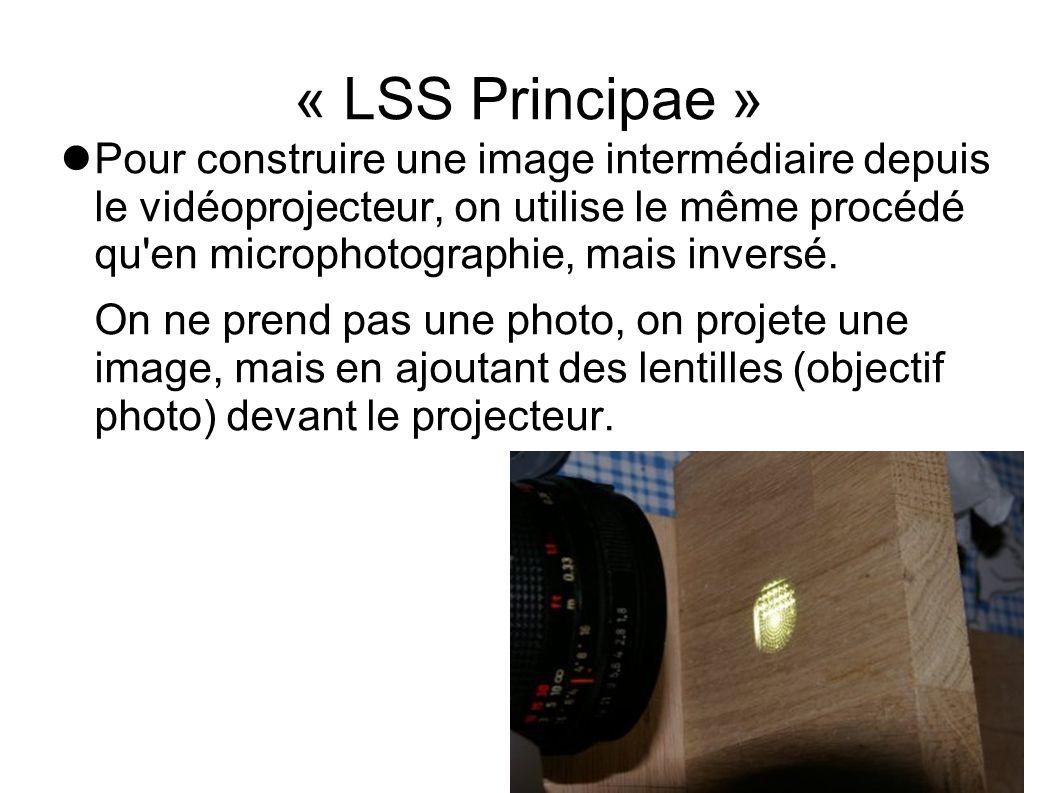 « LSS Principae » Pour construire une image intermédiaire depuis le vidéoprojecteur, on utilise le même procédé qu'en microphotographie, mais inversé.