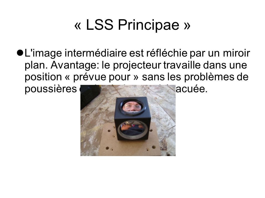 « LSS Principae » L'image intermédiaire est réfléchie par un miroir plan. Avantage: le projecteur travaille dans une position « prévue pour » sans les
