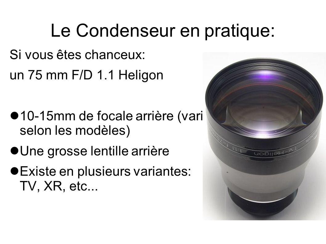 Le Condenseur en pratique: Si vous êtes chanceux: un 75 mm F/D 1.1 Heligon 10-15mm de focale arrière (varie selon les modèles) Une grosse lentille arr