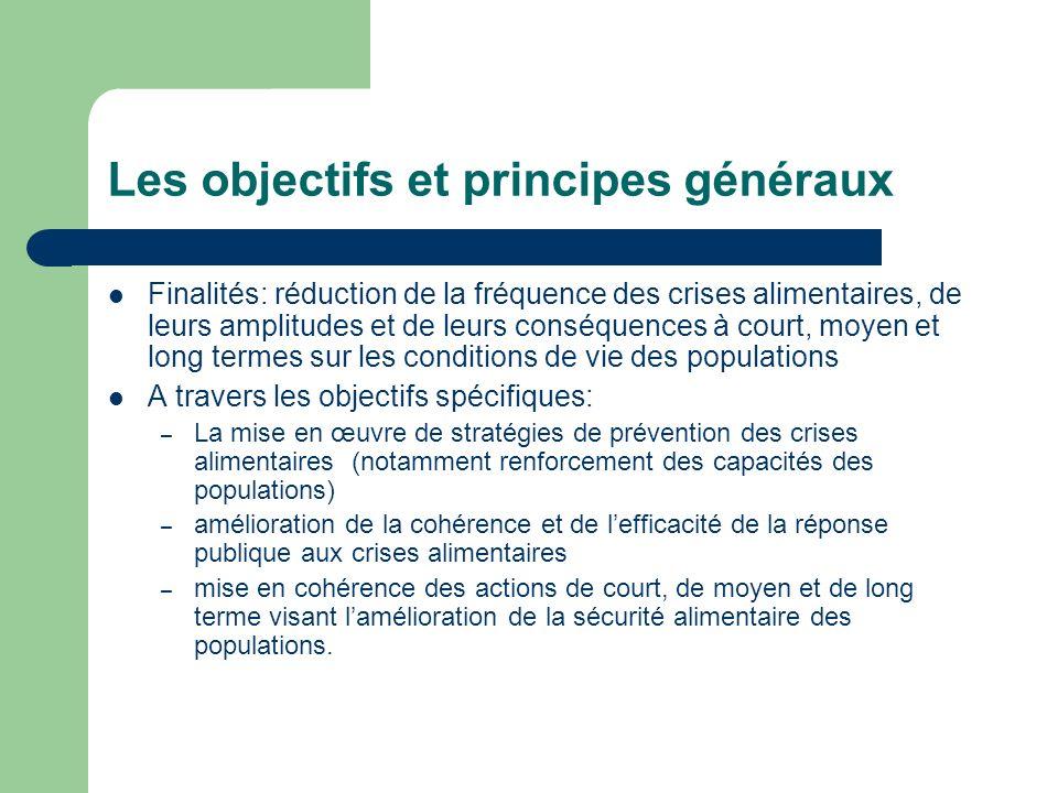 Les objectifs et principes généraux Finalités: réduction de la fréquence des crises alimentaires, de leurs amplitudes et de leurs conséquences à court