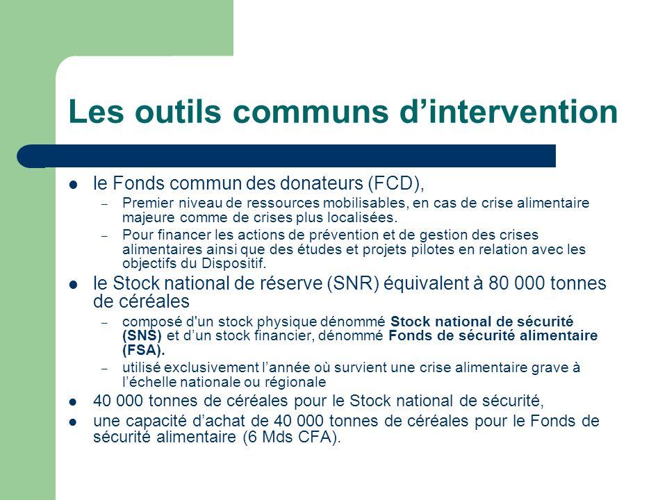 Les outils communs dintervention le Fonds commun des donateurs (FCD), – Premier niveau de ressources mobilisables, en cas de crise alimentaire majeure